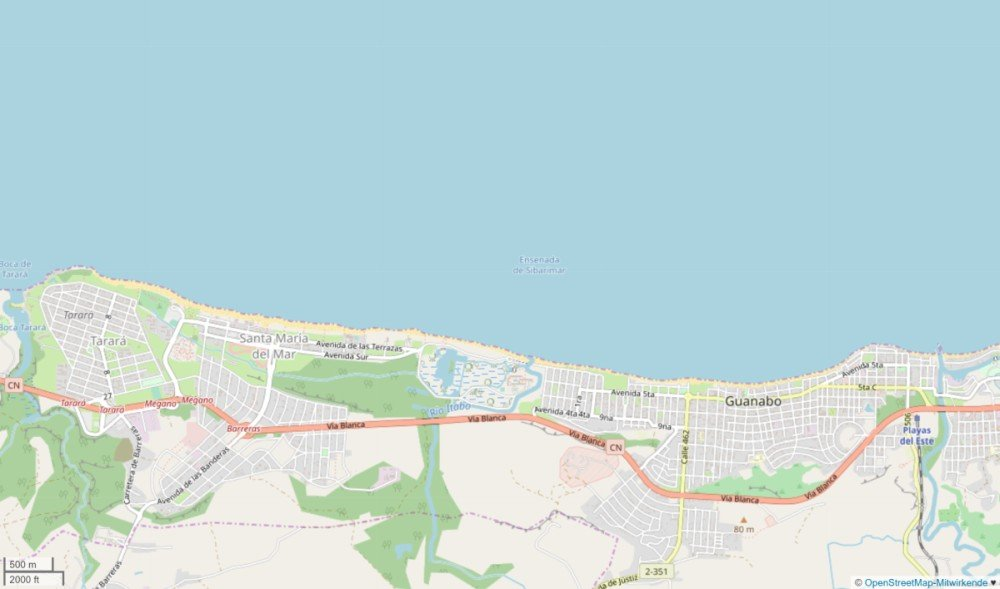 Screenshot der Playas del Este von Open Street Map