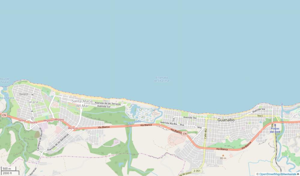 Screenshot der Playas del Este von Open Street Map