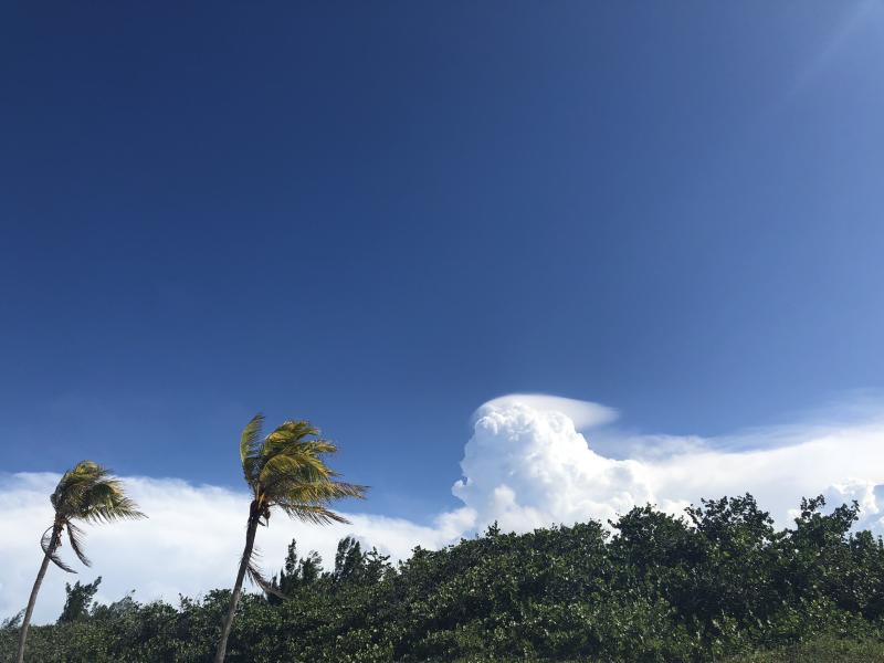 Foto: aufziehende Wolken landseitig am Playa del Este