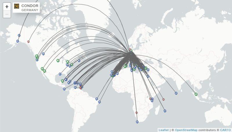 Grafische Darstellung aller Flüge von Condor