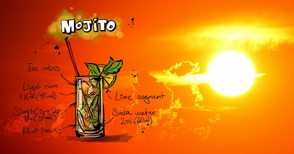 Illustration des Mojito (gesprochen Mochito) Rezepts