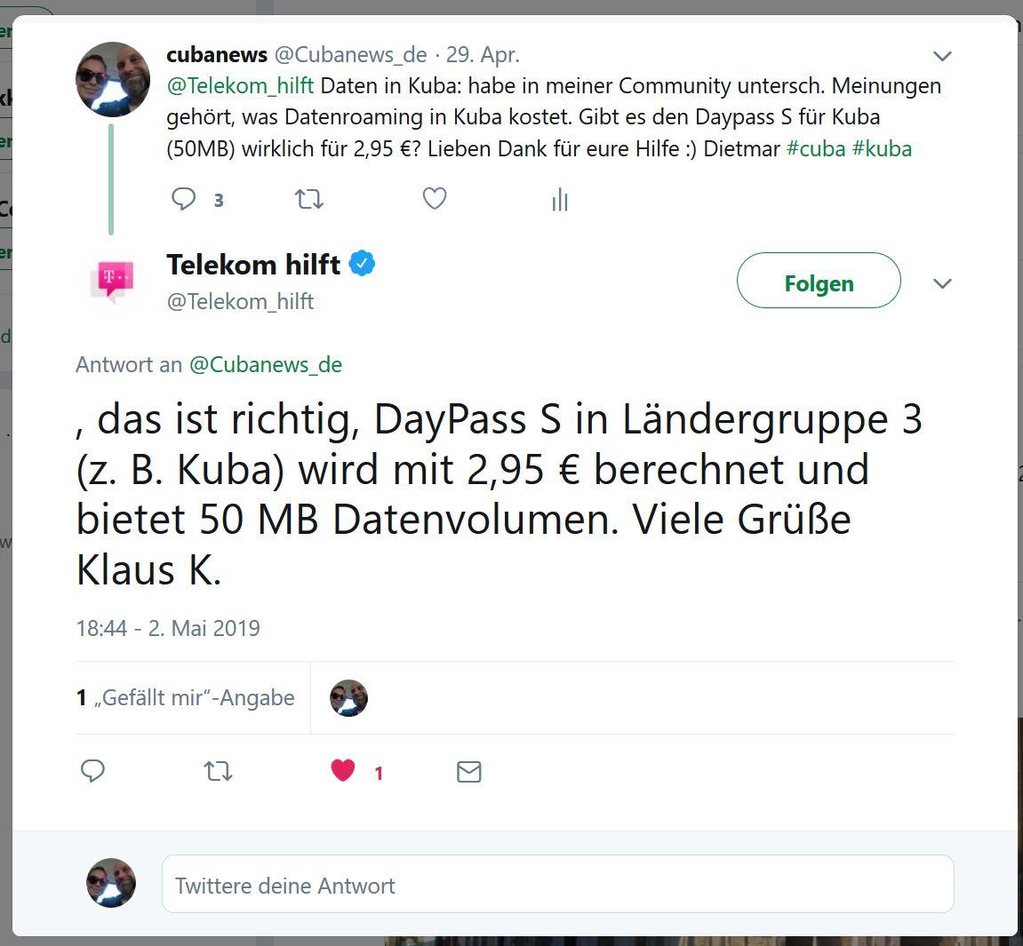 Twitterantwort von Telekom-Hilft