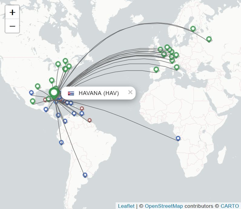 Schema: Flüge vom Flughafen Havanna