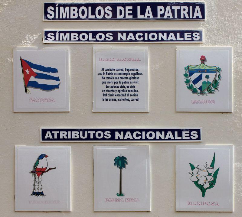 Foto der Symbole Cubas auf dekorativen Fliesen