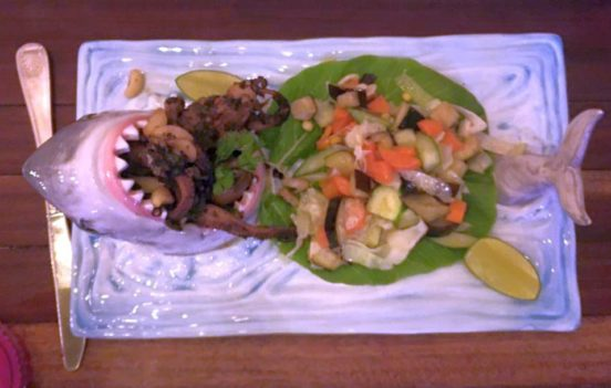Cover picture: shark formed plate with food