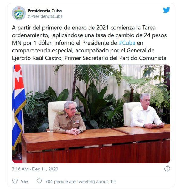 Tweet mit Ankündigung der Währungsreform